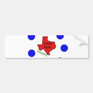 Iowa Park, Texas Design (Hawks Text Included) Bumper Sticker