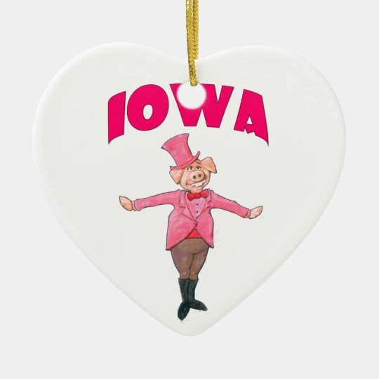 Iowa Pig Ceramic Heart Ornament