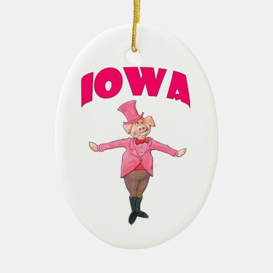 Iowa Pig Ceramic Oval Ornament