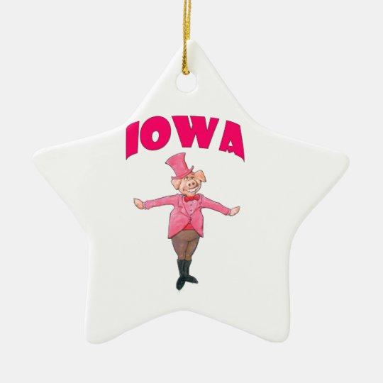 Iowa Pig Ceramic Star Ornament