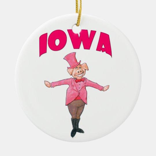 Iowa Pig Round Ceramic Ornament