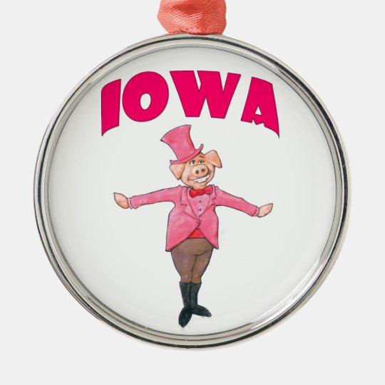 Iowa Pig Silver-Colored Round Ornament