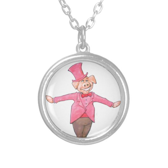 Iowa Pig Silver Plated Necklace