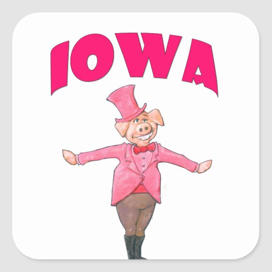 Iowa Pig Square Sticker