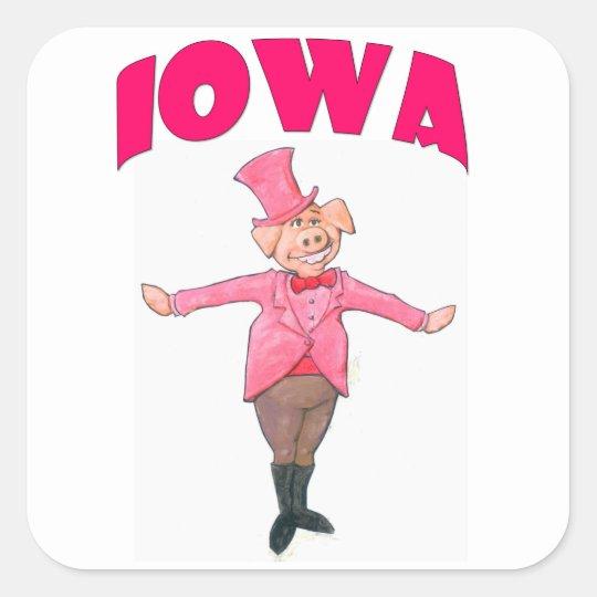 Iowa Pig Square Sticker