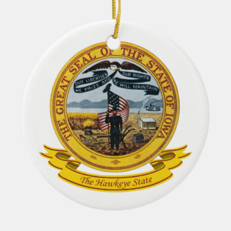 Iowa Seal Round Ceramic Ornament