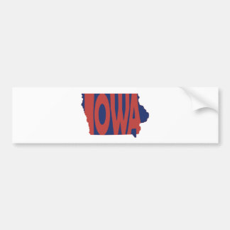 Iowa State Name Word Art Red Bumper Sticker