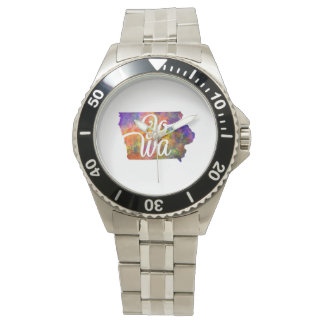 Iowa U.S. State in watercolor text cut out Watch