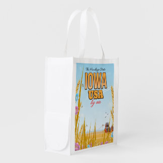 "Iowa USA ""The Hawkeye State""Cartoon travel poster. Reusable Grocery Bag"