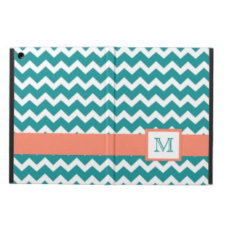 iPad Custom Monogram Coral Teal Chevrons Case For iPad Air