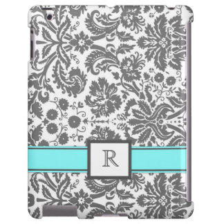 iPad Custom Monogram Grey Aqua Floral Damask