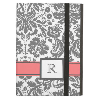 iPad Custom Monogram Grey Coral Floral Damask iPad Air Cases