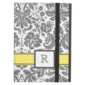 iPad Custom Monogram Grey Lemon Floral Damask iPad Air Cover