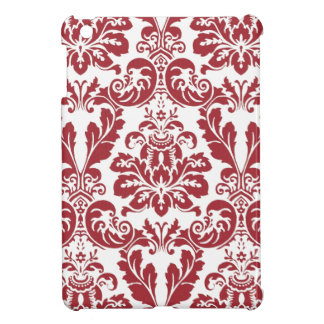 ipad mini case..red and white damask cover for the iPad mini