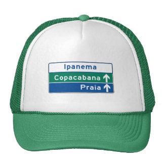 Ipanema/Copacabana/Beach, Brazil Traffic Sign Trucker Hat