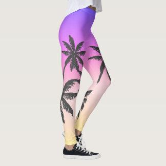 Ipanema Sunset Purple Fade Grey Palm Tree Tropical Leggings