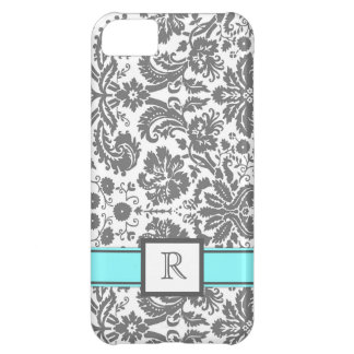 iPhone5 Custom Monogram Grey Aqua Floral Damask iPhone 5C Covers