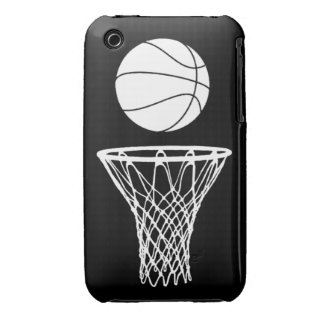 iPhone 3 Basketball Silhouette White on Black iPhone 3 Cases
