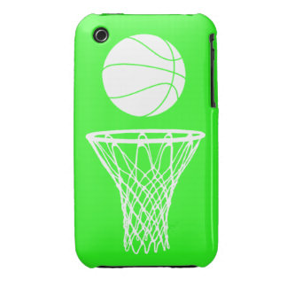 iPhone 3 Basketball Silhouette White on Green iPhone 3 Cases