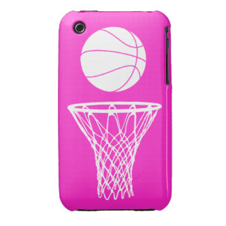 iPhone 3 Basketball Silhouette White on Pink Case-Mate iPhone 3 Cases