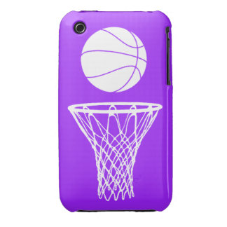 iPhone 3 Basketball Silhouette White on Purple iPhone 3 Cover