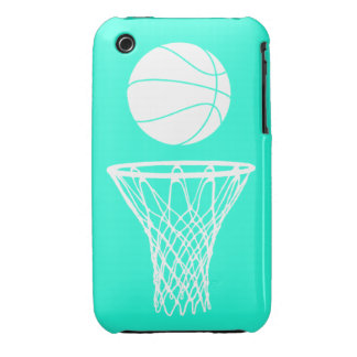 iPhone 3 Basketball Silhouette White on Turquoise iPhone 3 Cover