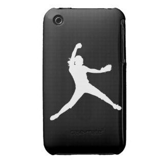 iPhone 3 Fastpitch Silhouette White on Black iPhone 3 Cases