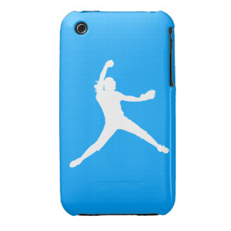 iPhone 3 Fastpitch Silhouette White on Blue iPhone 3 Case