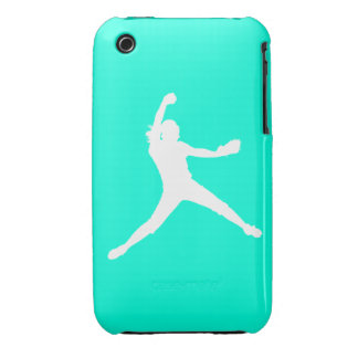 iPhone 3 Fastpitch Silhouette White on Turquoise iPhone 3 Cases