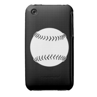 iPhone 3 Softball Silhouette White on Black iPhone 3 Covers