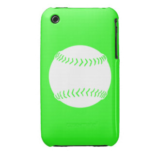 iPhone 3 Softball Silhouette White on Green iPhone 3 Case