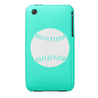 iPhone 3 Softball Silhouette White on Turquoise iPhone 3 Case-Mate Case