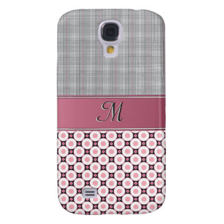 IPhone 3G Case - Monogram Pink Plaid & Circles