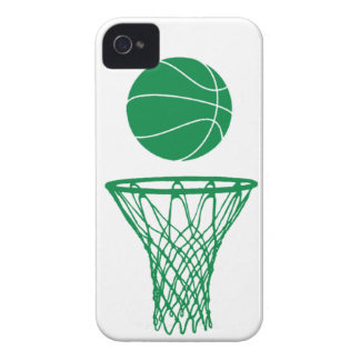 iPhone 4 Basketball Silhouette Green on White iPhone 4 Cases