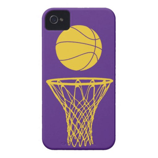 iPhone 4 Basketball Silhouette Lakers Purple iPhone 4 Cases