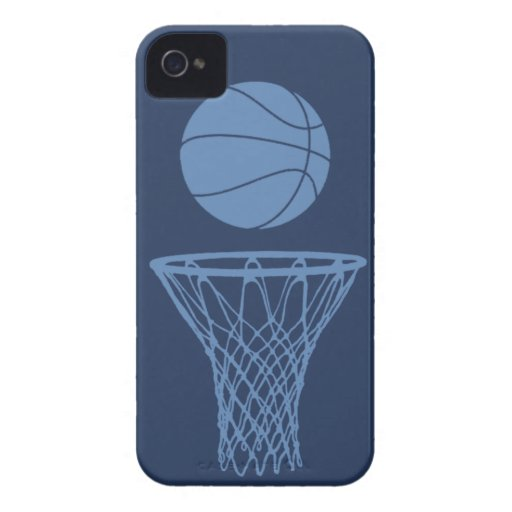 iPhone 4 Basketball Silhouette Light Blue on Dark iPhone 4 Cases