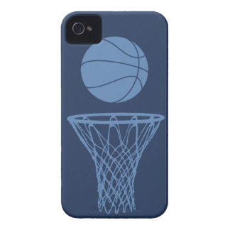 iPhone 4 Basketball Silhouette Light Blue on Dark iPhone 4 Covers