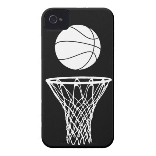 iPhone 4 Basketball Silhouette White on Black iPhone 4 Case