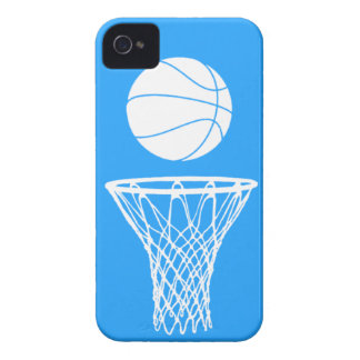 iPhone 4 Basketball Silhouette White on Blue iPhone 4 Cases
