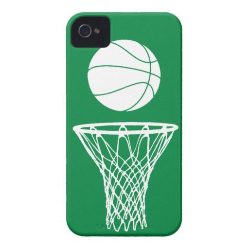 iPhone 4 Basketball Silhouette White on Green iPhone 4 Case-Mate Case