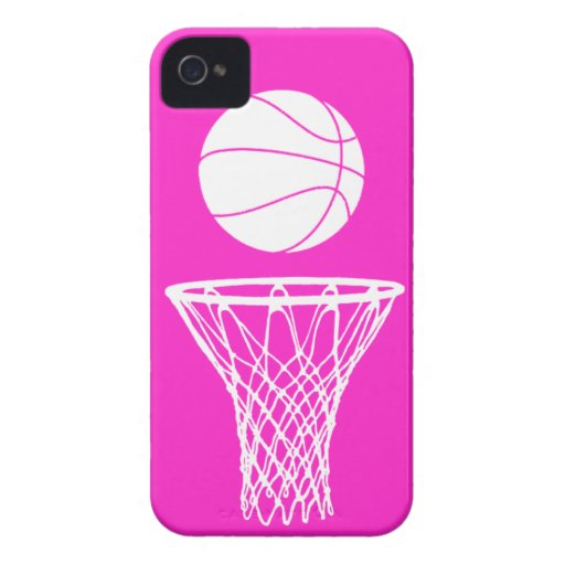 iPhone 4 Basketball Silhouette White on Pink iPhone 4 Cover