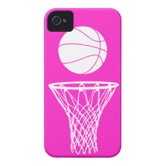 iPhone 4 Basketball Silhouette White on Pink iPhone 4 Cases