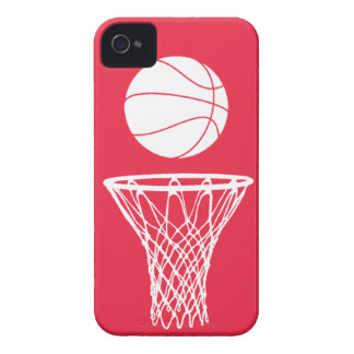 iPhone 4 Basketball Silhouette White on Red iPhone 4 Case