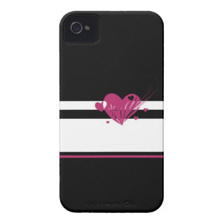 iPhone 4 Black and White with Valentine Heart iPhone 4 Cover
