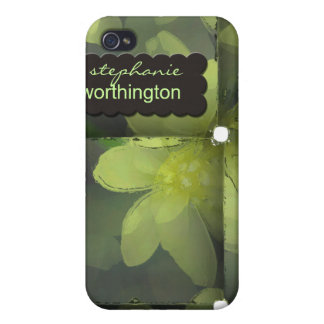 iPhone 4 Case Modern Floral Personalized