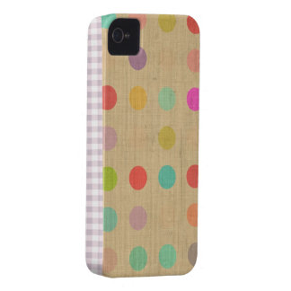 Iphone 4 Case Polka Dots Tourquise Beige Cream