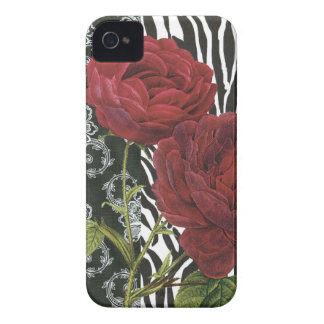 iphone 4 case.. .Vintage Red Rose, zebra and lace iPhone 4 Covers