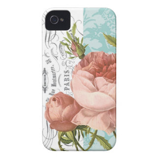 iphone 4 case.. .Vintage Rose and script iPhone 4 Case-Mate Cases