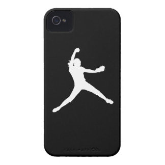 iPhone 4 Fastpitch Silhouette White on Black iPhone 4 Cases