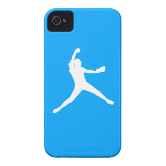 iPhone 4 Fastpitch Silhouette White on Blue Case-Mate iPhone 4 Case